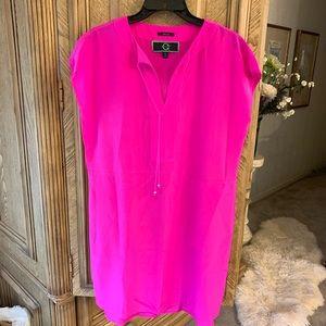 C Wonder Fuchsia 100% Silk shift dress cap sleeve